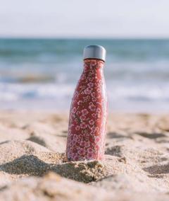 Botella Isotermica Acero Inox,Roja con Flores  Qwetch2
