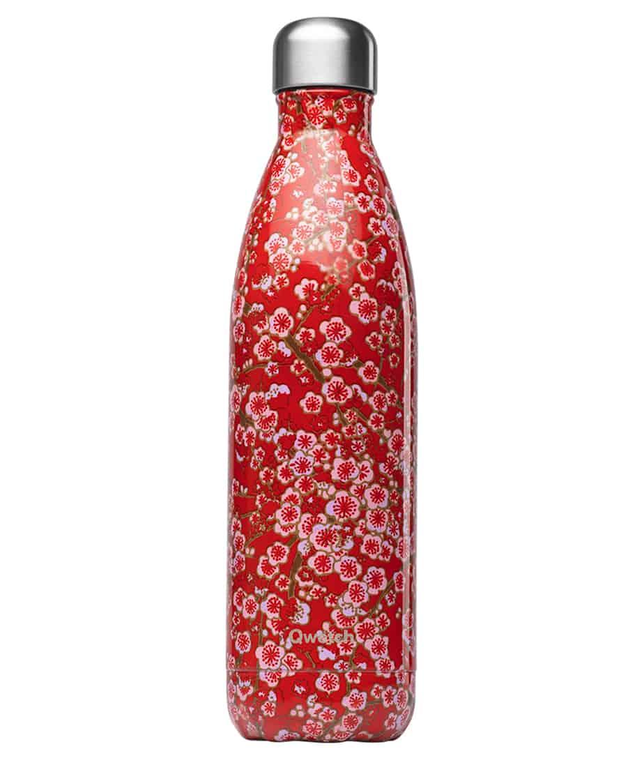 Botella Isotermica Acero Inox,Roja con Flores  Qwetch