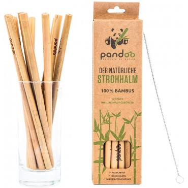 Set 12 pajitas de bambu
